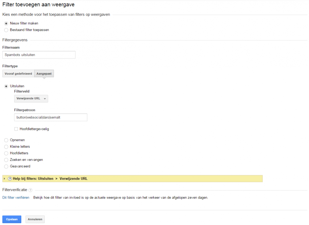 Filter toevoegen Google Analytics