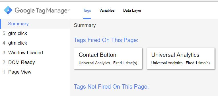 Google Tag Manager tags fired