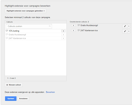 Callout extensies instellen in AdWords